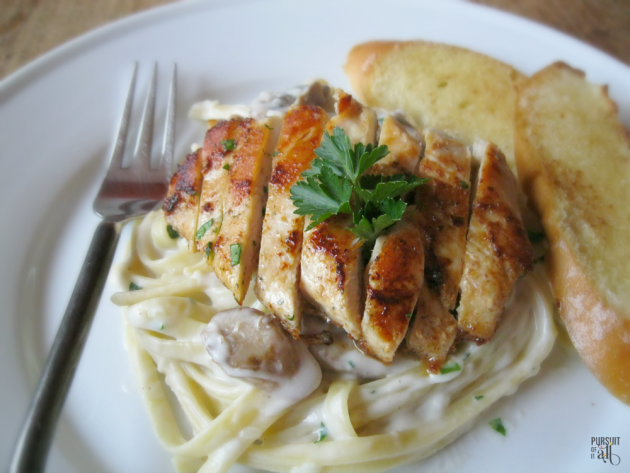 Mushroom Fettuccine Alfredo & Seared Chicken Breasts: simple enough for a busy weeknight (ready in less than 30 minutes!!!); polished enough for your next dinner party!
