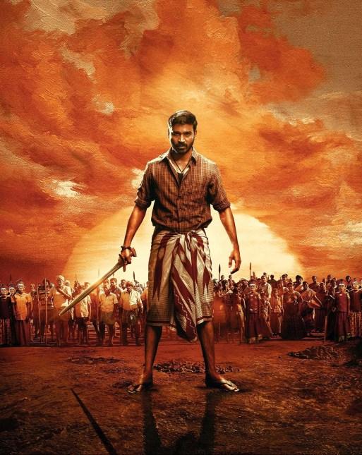 Actor Dhanush wearing lungi in the film Karnan.