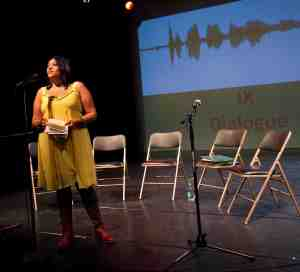 Poet Purvi Shah before a performance of Together We Are New York