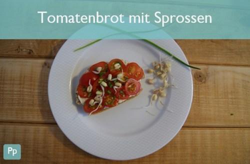 Tomatenbrot mit Sprossen