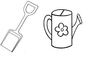 Лопатка и лейка рисунок карандашом для детей 1 класс