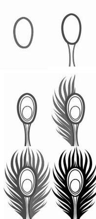 Как нарисовать перо павлина поэтапно