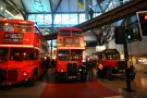 Different generations of the famed London bus