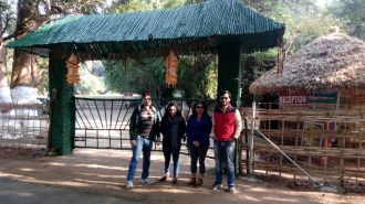 The team in front of Satkosia Sands Resorts