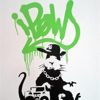 Banksy Green Gangsta Rat Signed