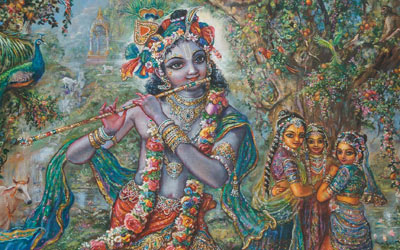 Gopies enthralled by the beauty of Krishna