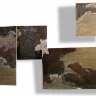 """""""Himmelsarchitektur"""" (sky-architecture), oil on nettle cloth, ~ 150 x 350 cm, 1993"""