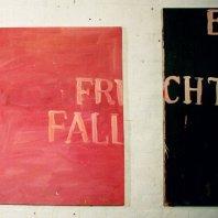 """Körperbild"" (*body-image""), oil on nettlecloth, variable size, 1991"