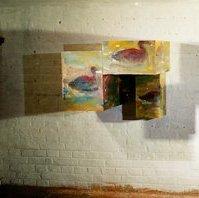 """Augen"": linkes Auge (""eyes"": left eye), oil on plywood-boxes, 60 x 90 x 62 cm, 1995"