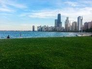 Vue du centre de Chicago depuis le sud de Lincoln Park