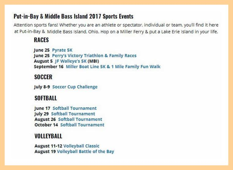 http://www.millerferry.com/sporting-events-list-for-the-lake-erie-islands/