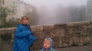Sub-zero and thick fog at the start of our day-trip - the old bridge at Quillan