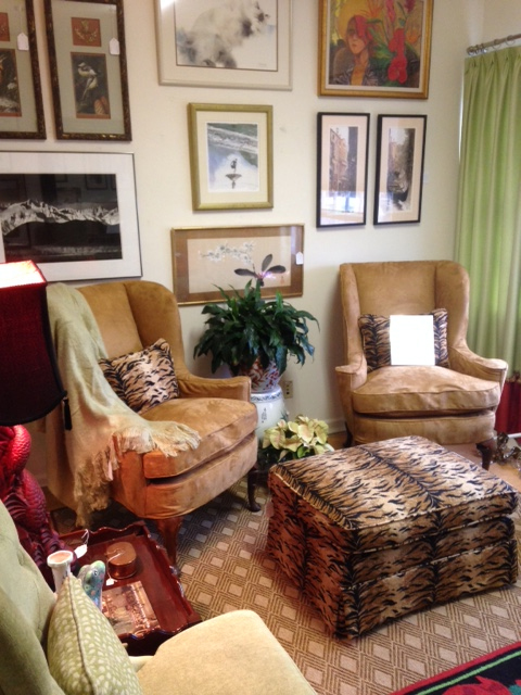 baker wingback chairs with animal print
