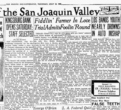 The Fresno Bee July 18, 1933 Fiddlin' Farmer