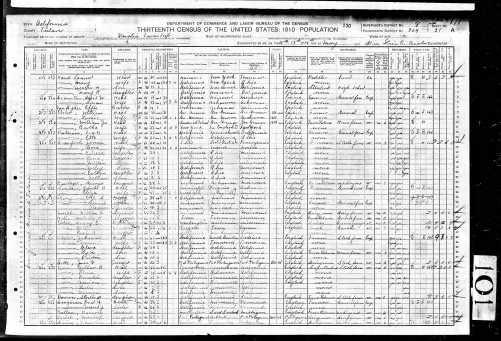 1910 US Census Visalia, Tulare County, California