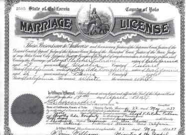 Marriage License Lloyd Fletcher Putnam and Dorothy Ada DOugherty