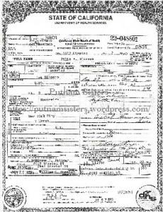 Julia Marsh Clough Blossom California death certificaate