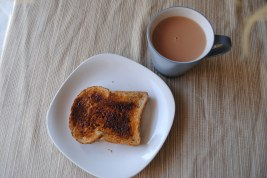 Enjoying my delicious marmite on toast with a cup of tea :)
