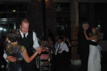 Grant dancing with his mum, Kelly dancing with her dad