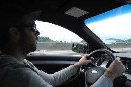 Rob driving our rental Ford Taurus