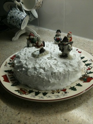 The finished product with a couple of winter cake decorations added