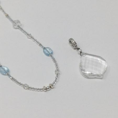 clear quartz skull, crystal skull, crystal imprinting, designer jewelry, white topaz necklace