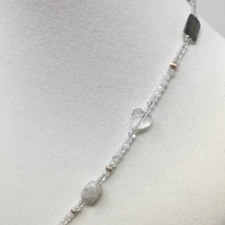 femininity, quartz heart, crystal heart, crystal love necklace, grey moonstone