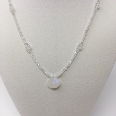 emerald cut moonstone, elegant necklace, moonstone necklace, rainbow moonstone jewelry, feminine grace