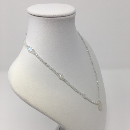 emerald cut moonstone, elegant necklace, moonstone necklace, rainbow moonstone jewelry, feminine grace