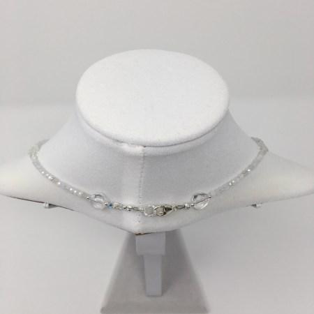 elegance, elegant necklace, moonstone necklace, rainbow moonstone jewelry, clear quartz hearts