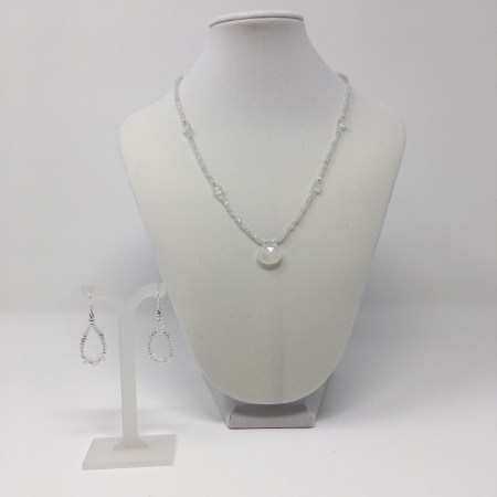 elegant jewelry, crystal elegance, moonstone necklace and earrings, moonstone pendant