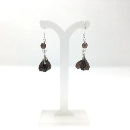 smoky quartz earrings, smoky quartz, dangling earrings, smoky quartz teardrop