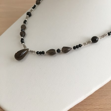 grounded and protected, crystals for grounding, mahogany obsidian, smoky quartz necklace, black tourmaline jewelry