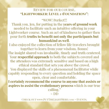 lightworker course, testimonial, course review, kind words, light v dark
