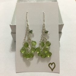 peridot earrings, moldavite earrings, how to be empowered, empowerment, crystals, green stones