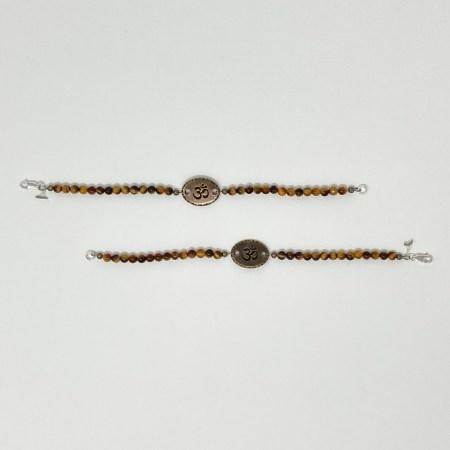 tiger's eye bracelet, yoga jewelry, om jewelry, crystals root chakra