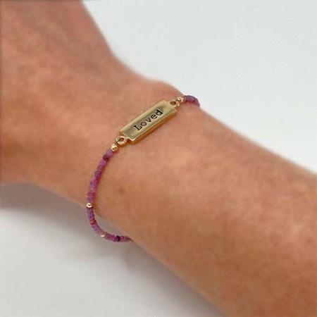 loved, loved bracelet, loved gold, healing bracelet, gold pink tourmaline
