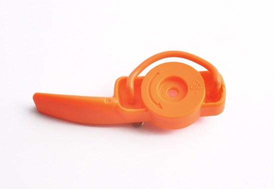 pickups orange brooch steel plastics 1