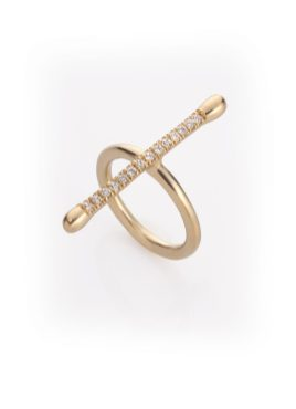 "Noritamy - ring ""Joints collection"" - gold dipped brass with white zirconia"
