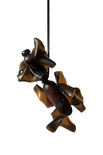 Hansel Tai ''Soul Mating XI'', necklace - cow horn, acrylic, silver 925', zebra wood