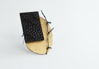 Paula Treimane, brooch – silver, paper clay, wood