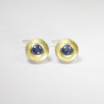 Andris Lauders, cufflinks - silver 925, gold 750, kyanite