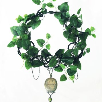 Lena Lindahl, necklace, Mad - silver, tourmaline, jasper, onyx, pearl, artificial leaf