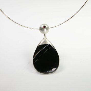 Māris Šustiņš, necklace - silver 925, zirkon, agate