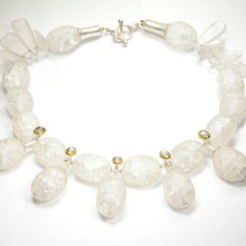 Valdis Brože, necklace - silver 925, gold 750, rock crystal, moonstone
