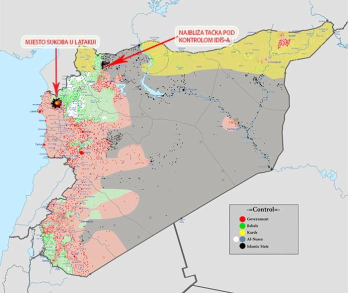 Mapa kontrole terirotije Sirije, decembar 2015.