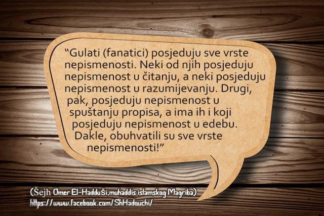 Tekfir fanatici gulati, pretjerivanje, Haduši