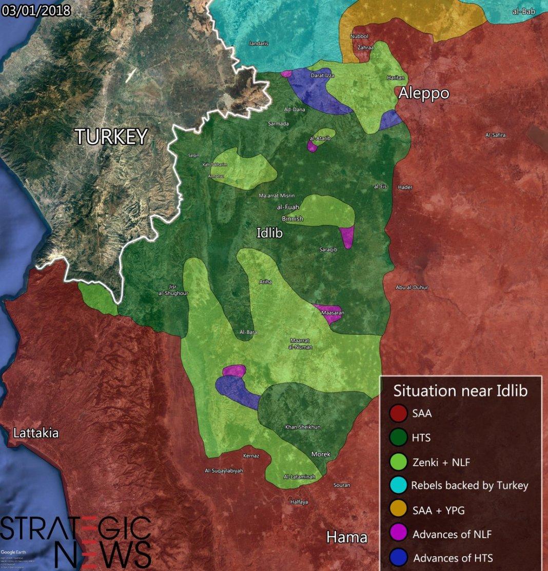 Mapa kontrole Idliba, 3. januara 2019. godine