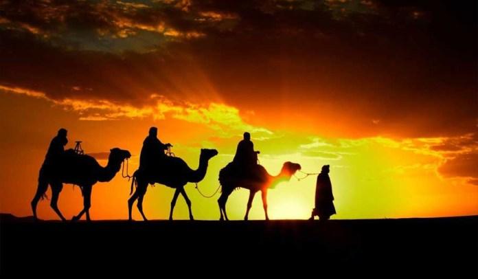 vatra, sunce, kamila, karavana,