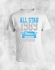 bela majica sa motivom 1389 plavo siva